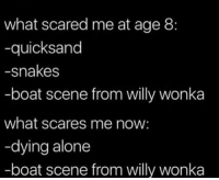 Being Alone, Willy Wonka, and Snakes: what scared me at age 8:  -quicksand  -snakes  -boat scene from willy wonka  what scares me now:  -dying alone  -boat scene from willy wonka