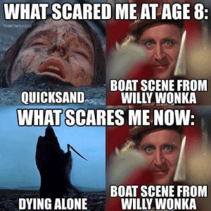 Being Alone, Reddit, and Willy Wonka: WHAT SCARED ME AT AGE 8:  THROWBACKE  BOAT SCENE FROM  WILLY WONKA  QUICKSAND  WHAT SCARES ME NOW:  BOAT SCENE FROOM  WILLY WONKA  DYING ALONE Some things never change