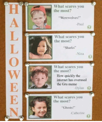 """<p>woke child has very high potential. via /r/MemeEconomy <a href=""""http://ift.tt/2FJ7KDD"""">http://ift.tt/2FJ7KDD</a></p>: What scares you  the most?  """"Werewolves!""""  -Paul  What scares you  the most?  Sharks  Nina  What scares you  the most?  How quickly the  internet has overused  the Gru meme  Dy  What scares you  the most  Ghosts!""""  Catherine <p>woke child has very high potential. via /r/MemeEconomy <a href=""""http://ift.tt/2FJ7KDD"""">http://ift.tt/2FJ7KDD</a></p>"""