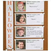 "Memes, Death, and Sharks: What scares you  the most?  Werewolves!""  -Paul  What scares you  the most?  Sharks  Nina  What scares you  the most?  The unstoppable marching  of time that is slowly guiding  us all towards an inevitable  death.""  -Dylan  What scares you  the most?  -Dylan  Catherine the last one"
