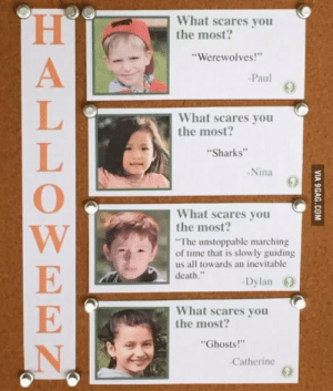 "Death, Sharks, and Time: What scares you  the most?  Werewolves!""  Paul  What scares you  the most  Sharks""  -Nina  0  What scares you  the most?  The unstoppable marching  of time that is slowly guiding  us all towards an inevitable  death.""  -Dylan  What scares you  the most?  Ghosts!""  -Catherine This kid"