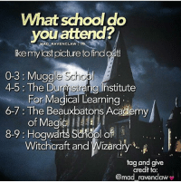 Gryffindor, Memes, and School: What school do  you attend?  MAD RAVENCLAW  ike mylast picture to find out  0-3:Muggle Schop  4-5: The Durnstrang Ihstitute  For Magical Learning  6-7 : The Beauxbatons Academy  of Magic) ,  Witchcraft and Wizardry .  8-9: Hogwarts Sciool of  tag and give  credit to:  mad ravenclaw Like my recent post and see the last digit to find out which school you attend! 💖 Comment down below! 😇👇 harrypotter thechosenone theboywholived hermionegranger ronweasley gryffindor bestfriends thegoldentrio dracomalfoy theboywhohadnochoice slytherin hogwarts ministryofmagic jkrowling harrypotterfilm harrypottercasts potterheads potterheadforlife harrypotterfact harrypotterfacts hpfact hpfacts thehpfacts danielradcliffe emmawatson rupertgrint tomfelton
