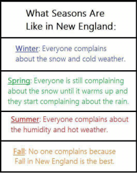 England, Memes, and Winter: What Seasons Are  Like in New England:  Winter: Everyone complains  about the snow and cold weather.  Spring: Everyone is still complaining  about the snow until it warms up and  they start complaining about the rain  Summer: Everyone complains about  the humidity and hot weather.  Fall: No one complains because  Fall in New England is the best.