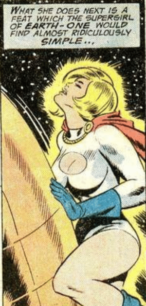 Everything is simple for powergirl: WHAT SHE DOES NEXT IS A  FEAT WHICH THE SUPERGIRL  OF EARTH- ONE WOULD  FIND ALMOST RIDICULOUSLAY  SIMPLE Everything is simple for powergirl