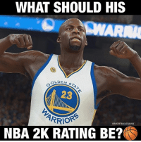Basketball, Golden State Warriors, and Nba: WHAT SHOULD HIS  OLDE  LDEN ST  23  ARRIO  BASKETBALLSTUDIOS  NBA 2K RATING BE? What do you think Draymond's 2K rating should be? [@basketballstudios] WARRIORSTALK