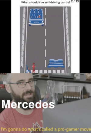 Gamer time: What should the self-driving car do? 27 13  Mercedes  I'm gonna do what's called a pro-gamer move Gamer time