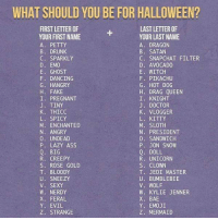 9gag, Ass, and Bae: WHAT SHOULD YOU BE FOR HALLOWEEN?  FIRST LETTER OF  YOUR FIRST NAME  A. PETTY  B. DRUNK  C. SPARKLY  D. EMO  E. GHOST  F. DANCING  G. HANGRY  H. FAKE  I. PREGNANT  J. TINY  K. THICC  L. SPICY  M. ENCHANTED  N. ANGRY  0. UNDEAD  P. LAZY ASS  Q. BIG  R. CREEPY  S. ROSE GOLD  T. BLOODY  U. SNEEZY  V. SEXY  W. NERDY  X. FERAL  Y. EVIL  Z. STRANGE  LAST LETTER OF  YOUR LAST NAME  A. DRAGON  B. SATAN  C. SNAPCHAT FILTER  D. AVOCADO  E. WITCH  F. PIKACHU  G. HOT DOG  H. DRAG QUEEN  I. KNIGHT  J. DOCTOR  K. VLOGGER  L. KITTY  M. SLOTH  N. PRESIDENT  0. SANDWICH  P. JON SNOW  Q. DOLL  R. UNICORN  S. CLOWN  T. JEDI MASTER  U. BUMBLEBEE  V. WOLF  W. KYLIE JENNER  X. BAE  Y. EMOJI  Z. MERMAID I am Bloody Bumblebee. 🐝 Follow @9gag