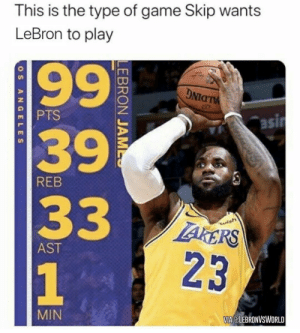 What Skip expects out of LeBron 😂 https://t.co/rCeXPh3bjf: What Skip expects out of LeBron 😂 https://t.co/rCeXPh3bjf