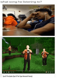 minecraft parody: what song he listening to?  113/356  Eye Of The Spider (Eye Of The Tiger Minecraft Parody)