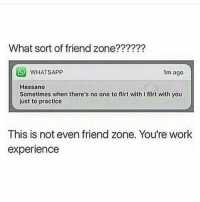 Funny, Working, and Friend: What sort of friend zone????  SO WHAT SApp  1m ago  Hassano  Sometimes when there's no one to flirt with Iflirt with you  just to practice  This is not even friend zone. You're work  experience Bruuuh😂😂😂😂