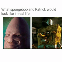 Memes, 🤖, and Real Life: What spongebob and Patrick would  look like in real life Hahah wtf!! Comment which one is more messed up 😂
