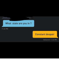 Grindr, Despair, and You: What state are you in ?  2  11:26 PM  Constant despair  Delivered 11:26 PM My trying to flirt with @stooobs