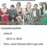 Memes, Jared, and Comics: What stn your comic-gon survival  Lana: Flatsl That's part of my survivalMt  NAY Tana Ibrought flats.  Jen: She's smarter than me on that one,  Wen We haversecret stashes of flats.  I didn't bring flats.  mysweetcupoftea:  chris-Ill  2014 vs. 2015  Wow, Jared Gilmore didn't age well. my wrist hurts very badly ;(