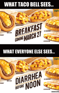 <p>Punish Your Bowels Even Earlier in the Day</p>: WHAT TACO BELL SEES...  Tropica  BREAKFAST  WAFFLE TAC  ELIGHTS  OMING MARCH 27  WHAT EVERYONE ELSE SEES..  Tropic  DIARRHEA  BEFORE NOON  WAFFLE TAC  .  ELIGMTS <p>Punish Your Bowels Even Earlier in the Day</p>