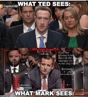 Zucc 5000 by talkshitgetshot FOLLOW 4 MORE MEMES.: WHAT TED SEES:  E Capitol Hill  T-800 Vinion Veraion  Cruz, Ted  Zodiac K ller  Son Of JFK Assassin  Senator (R)  Likes Dog Vieos  Eliminate?  Y (N)  udiciary  ommittee  STRER 26  MAWCUZ  WHAT MARK SEES:  MA  kimgflip.comaMatte Zucc 5000 by talkshitgetshot FOLLOW 4 MORE MEMES.