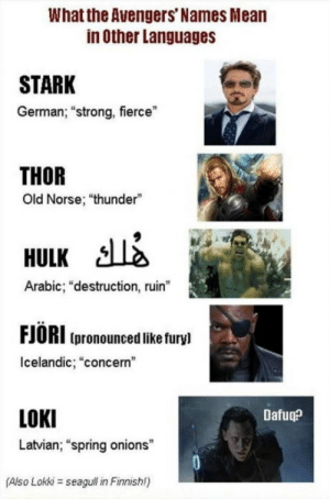 "Im Latvian and I approve this translation: What the Avengers' Names Mean  in Other Languages  STARK  German; ""strong, fierce""  THOR  Old Norse; ""thunder""  HULK A  Arabic; ""destruction, ruin""  FJORI (pronounced like furyl  Icelandic, ""concern""  LOKI  Latvian; ""spring onions  Dafuq?  (Also Lokki seagull in Finnishl) Im Latvian and I approve this translation"