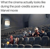 credits scene: What the cinema actually looks like  during the post-credits scene of a  Marvel movie