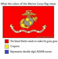 America, Doe, and Life: What the colors of the Marine Corps flag mean  Deceierate Your Life  The blood Mattis needs to make his grass grow  Crayons  Represents double digit ASVAB scores Some of you are fully qualified. @Regrann from @the_bastard_of_the_bird - Dem ASVAB scores doe 💀 💀 💀 @the_bastard_of_meus_and_udps @the_bastard_diaries @the_bastard_of_kandahar @bastards_and_company @the_bastards_of_the_fob @the_bastards_back_on_the_block @the_bastard_of_the_green_ramp @the_bastard_of_kbay @the_bastards_of_valhalla 💀 💀 💀 👍👊✊💪 bastards usarmysoldier marines grunt savageasfuck💯 navy airforce donttreadonme 1776 training ΜΟΛΩΝΛΑΒΕ devildog nco vet ar15 mericafuckyeah zerofucksgiven america nofucksgiven grunt bushlife fuckisis fuckterrorists isishuntingclub pewpewprofessional mericafuckyeah Kill Spartan