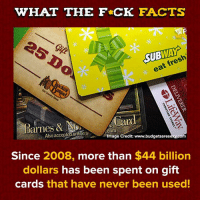 Time to find those old gift cards!: WHAT THE F CK FACTS  SUBWAY  eat fresh  Barnes & Card  Also acceptedonline a  Image Credit: www.budgetsaresexy.co  Since 2008, more than $44 billion  dollars has been spent on gift  cards that have never been used! Time to find those old gift cards!