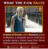 monty python: WHAT THE FCK FACTS  FACTS  hdawalls com  mage Source  In Game of Thrones, when Daenerys arrives  at Meereen, a champion sent to insult her is  actually saying a French taunt from Monty  Python and the Holy Grail in Valyrian.  E @diplywtffacts  FB.com/WhatTheFacts  @WhatTheFFacts