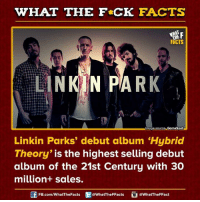 """linkin park: WHAT THE FCK FACTS  FACTS  LINKIN PARK  lmoge Source: GameSpot  Linkin Parks' debut album """"Hybrid  Theory  is the highest selling debut  album of the 21st Century with 30  million+ sales.  FB.com/WhatThe Facts  @WhatTheFFacts  @WhatTheFFact"""