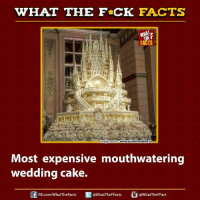 wedding cakes: WHAT THE FCK FACTS  FACTS  mage source WWWgiaremondene.ro  Most expensive mouthwatering  wedding cake.  @WhatTheFFacts  @WhatTheF Fact  FB.com/What'TheFacts