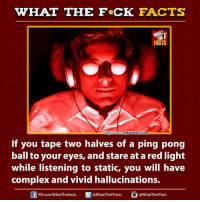 Complex, Dank, and Facts: WHAT THE FCK FACTS  FACTS  ytabletennis.net  mage ource  If you tape two halves of a ping pong  ball to your eyes, and stare at a red light  while listening to static, you will have  complex and vivid hallucinations.  FB  @WhatTheF Fact  @WhatTheF Facts