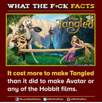 tangle: WHAT THE FCK FACTS  ISNE  angled  mage source Disney Wiki-Wikia  It cost more to make Tangled  than it did to make Avatar or  any of the Hobbit films.  FB.com/WhatThe Facts  @WhatTheFFacts  @WhatTheFFact