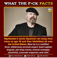 Dank, Chef, and Boat: WHAT THE FCK FACTS  mage source Indianapolis Monthly  Mythbuster's Jamie Hyneman ran away from  home at age 14 and then hitchhiked all over  the United States.  Now he is a certified  diver, wilderness survival expert, boat captain  linguist, pet shop owner, animal wrangler,  machinist, concrete inspector, and chef  FB.com/WhatThe Facts  @What The FFacts  a What The FFact
