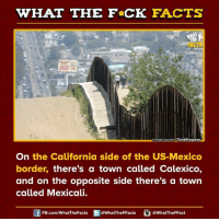 Dank, 🤖, and Calexico: WHAT THE FCK FACTS  mage source  ThinkProgress  On the California side of the US-Mexico  border, there's a town called Calexico,  and on the opposite side there's a town  called Mexicali.  FB.com/What The Facts  @What'TheFFacts  a WhatTheFFact