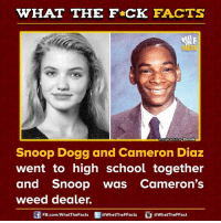snoop dogg: WHAT THE FCK FACTS  moge Source Parade  Snoop Dogg and Cameron Diaz  went to high school together  and snoop was Cameron's  weed dealer.  FB.com/WhatThe Facts  @WhatTheFFacts  @WhatTheFFact