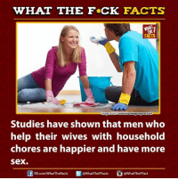 Dank, Facts, and Sex: WHAT THE FCK FACTS  www.washingtonpost.com  mage Source  Studies have shown that men who  help their wives with household  chores are happier and have more  Sex  @What The Fact  FB.com/WhatTheFacts  WhatTheFFacts