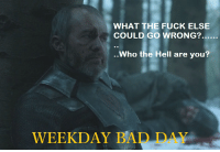 what-the-hell: WHAT THE FUCK ELSE  COULD GO WRONG?  Who the Hell are you?  WEEKDAY BA  DAY