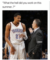 "air balling free throws 😂 nba nbamemes okcthunder roberson: ""What the hell did you work on this  summer..?""  HINDER  @NBAMEMES air balling free throws 😂 nba nbamemes okcthunder roberson"