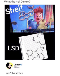 Bitch, Disney, and Memes: What the hell Disney?  sh  el  Puppy Dog Pals  LSD  Disney  @Disney  don't be a bitch Remember kids, don't smoke any alcohol or drink any marijuana. via /r/memes https://ift.tt/2qYP2yE