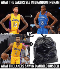 Who agrees? 👀 - Follow @_nbamemes._: WHAT THE LAKERS SEE IN BRANDON INGRAM  KLAHOM  CITY  AKERS  14  35  VS  CNBAMEMES  TAKERS  WHAT THE LAKERS SAW IN D'ANGELO RUSSELL Who agrees? 👀 - Follow @_nbamemes._