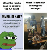 What the media  says is causing  the Alt-Right  SYMBOL OF HATE?  Thanks to recent appropriations of  Pepe the Frog as Adolf Hitler, a  Klansman and numerous racist  caricatures, the meme earned a spot  in the Anti-Defamation League's  database of hate symbols.  Courtesy of Carbon Costume  What is actually  causing the  Alt-Right -Jojo