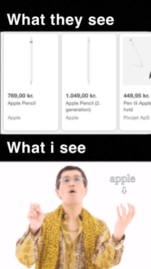 Apple, Pineapple, and Dank Memes: What they see  769,00 kr.  449,95 kr.  1.049,00 kr.  Pen til Apple  Apple Pencil  Apple Pencil (2.  generation)  hvid  Pixojet ApS  Apple  Apple  What i see  apple Apple pen, pineapple pen