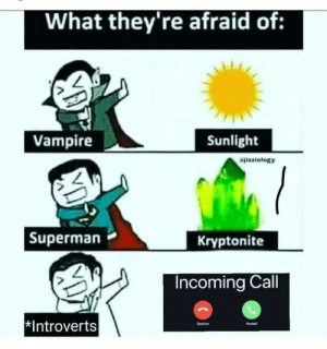 Noooooo…..: What they're afraid of:  Vampire  Sunlight  izziology  |Superman  Kryptonite  Incoming Call  *Introverts  Decine  Accept Noooooo…..