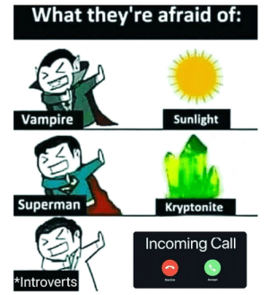I'm gonna pretend I didn't see that: What they're afraid of:  Vampire  Sunlight  | Superman  Kryptonite  Incoming Call  Introverts  Accept  Decline I'm gonna pretend I didn't see that