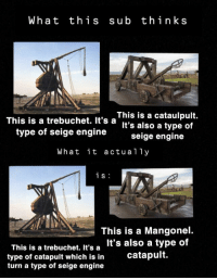 trebuchet: What this sub think s  This is a trebuchet. It's aniS is a cataulpult.  It's also a type of  type of seige engine seige enqine  What it actually  i s  This is a trebuchet. It's a  type of catapult which is in  turn a type of seige engine  This is a Mangonel.  It's also a type of  catapult.