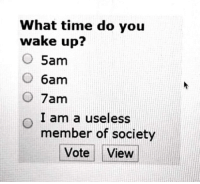 Time, Wake, and You: What time do you  wake up?  5am  O 6am  O 7am  I am a useless  member of society  Vote View
