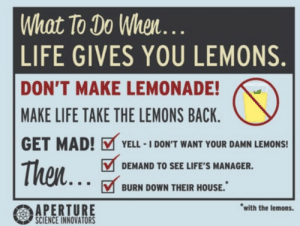 Just a reminder to burn down houses with lemons (Portal 2): What To Do When  LIFE GIVES YOU LEMONS  DON'T MAKE LEMONADE!  MAKE LIFE TAKE THE LEMONS BACK  GET MAD! YELL-IDON'T WANT YOUR DAMN LEMONS!  Then  DEMAND TO SEE LIFE'S MANAGER.  BURN DOWN THEIR HOUSE.  with the lemons.  APERTURE  SCIENCE INNOVATORS Just a reminder to burn down houses with lemons (Portal 2)