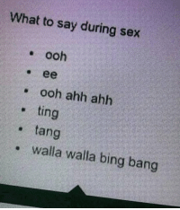 Sex, Bing, and Dank Memes: What to say during sex  ooh  . ooh ahh ahh  ting  , tang  walla walla bing bang Neat