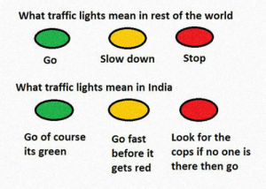 srsfunny:  Traffic Lights In Indiahttp://srsfunny.tumblr.com/: What traffic lights mean in rest of the world  Slow down  Stop  Go  What traffic lights mean in India  Go of course  Look for the  Go fast  cops if no one is  there then go  its green  before it  gets red srsfunny:  Traffic Lights In Indiahttp://srsfunny.tumblr.com/
