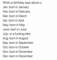 Birthday, Fucking, and Funny: What ur birthday says about u  Jan: born in January  Feb: born in Februar  Mar: born in March  Apr: born in April  May: born in May  June: born in June  July: ur a fucking idiot  Aug: born in August  Sep: born in September  Oct: born in October  Nov: born in November  Dec: born in December Comment ur birthday month lol 😂