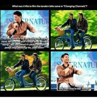 "Memes, 🤖, and Action: What was it like to film the tandem bikescene in ""Changing Channels?  done, beFatmawe  RNATU  And then they're like Action cuties."