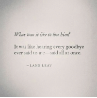 What Was It: What was it like to lose hin?  It was like hearing every goodbye  ever said to me-said all at once.  LANG LEAV