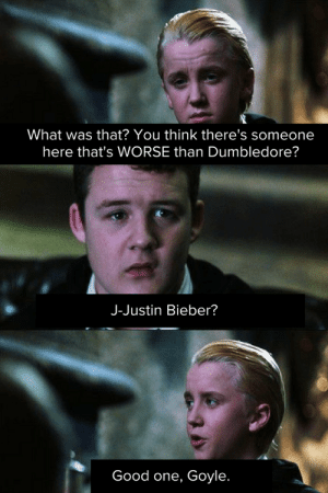 Insanely Funny Harry Potter Memes Will Knock You Down From A Broom Ride - Swish Today: What was that? You think there's someone  here that's WORSE than Dumbledore?  J-Justin Bieber?  Good one, Goyle. Insanely Funny Harry Potter Memes Will Knock You Down From A Broom Ride - Swish Today