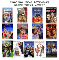 "Dad, Memes, and New York: WHAT WAS YOUR FAVOURITE  OLSEN TWINS MOVIE?  mary-kate ashley eugene  DOUELE, DOUBLE  IN  new york  DAD  minute  Passport  Päris  ER  INTHESU  On Videa  e""  SWITGHING winning,london  GCALS  How TH  ers  We  0  OU"